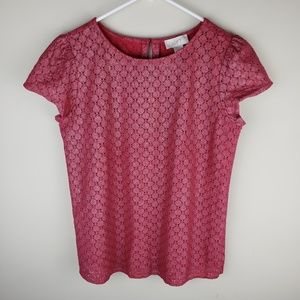 Loft | Sparkle Red Maroon Crochet Top